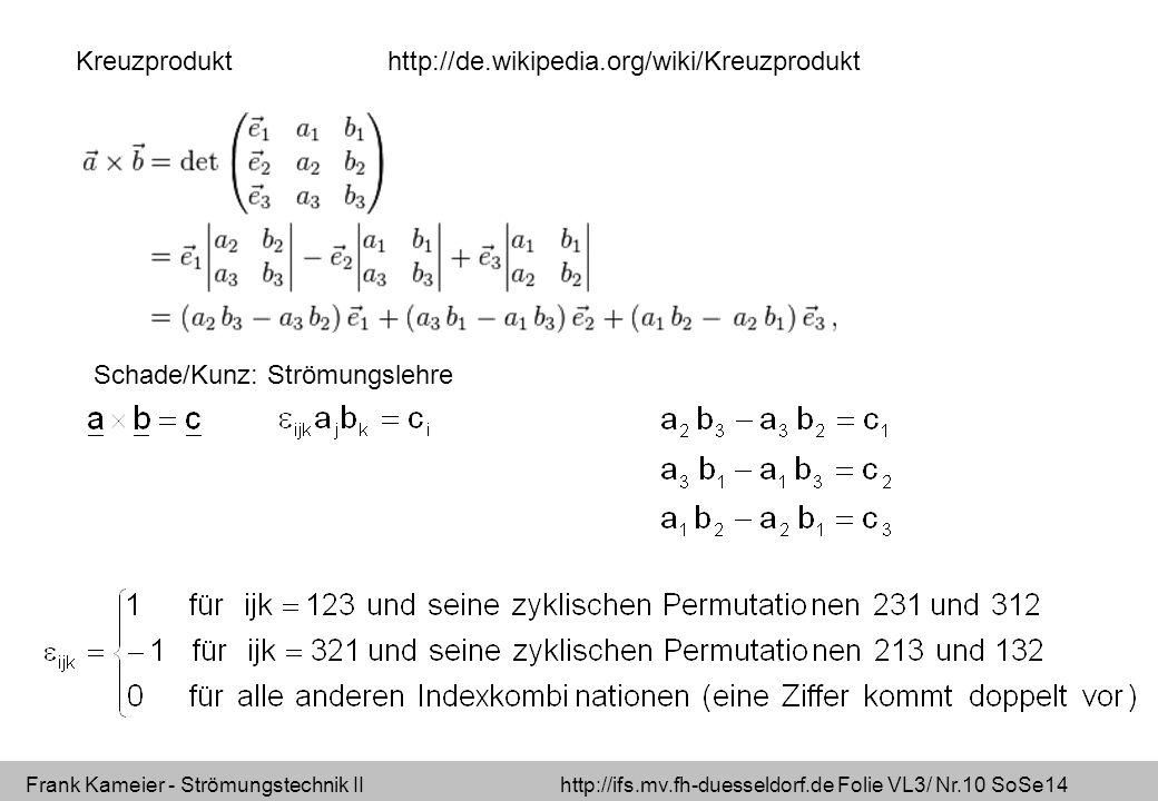 Frank Kameier - Strömungstechnik II http://ifs.mv.fh-duesseldorf.de Folie VL3/ Nr.10 SoSe14 http://de.wikipedia.org/wiki/KreuzproduktKreuzprodukt Schade/Kunz: Strömungslehre