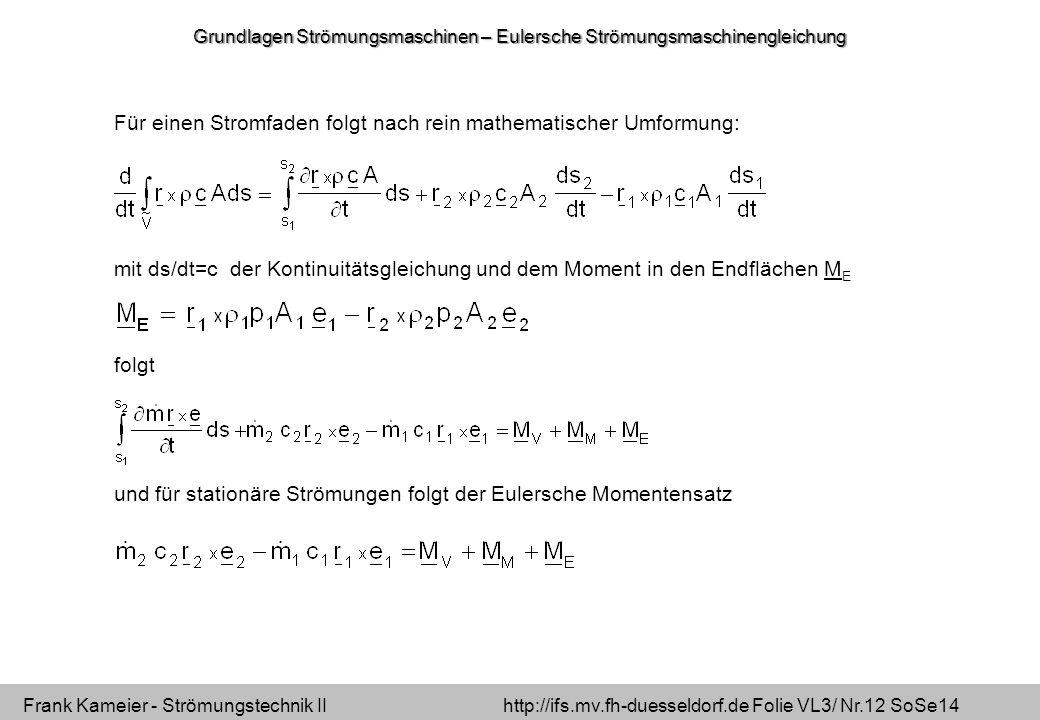 Frank Kameier - Strömungstechnik II http://ifs.mv.fh-duesseldorf.de Folie VL3/ Nr.12 SoSe14 Für einen Stromfaden folgt nach rein mathematischer Umformung: mit ds/dt=c der Kontinuitätsgleichung und dem Moment in den Endflächen M E folgt und für stationäre Strömungen folgt der Eulersche Momentensatz Grundlagen Strömungsmaschinen – Eulersche Strömungsmaschinengleichung