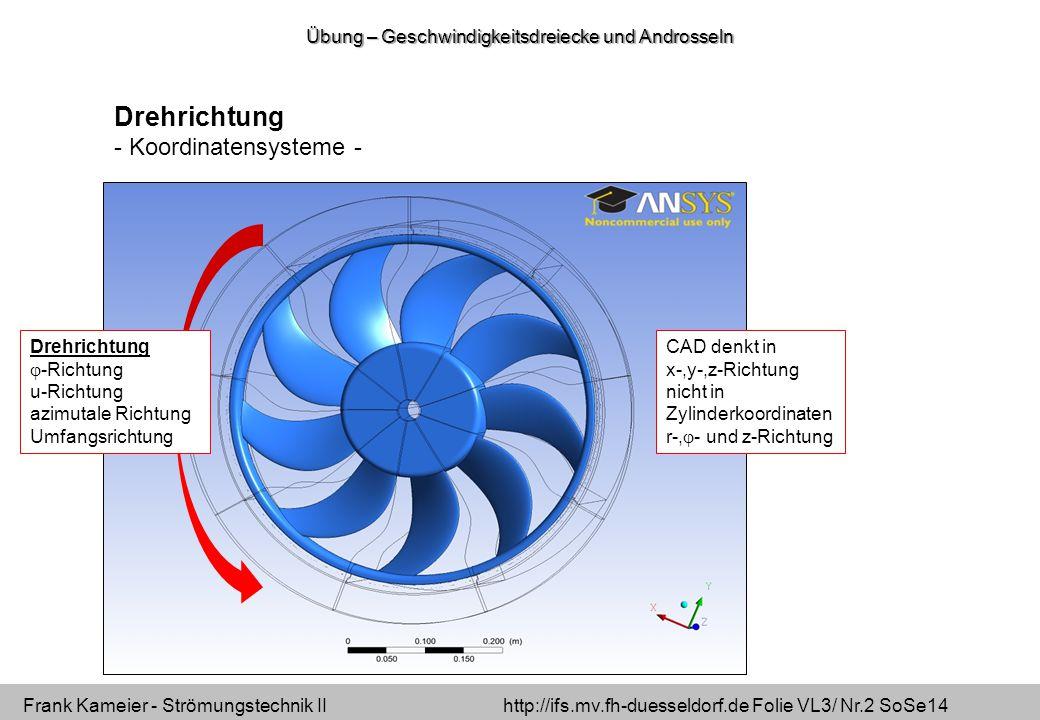Frank Kameier - Strömungstechnik II http://ifs.mv.fh-duesseldorf.de Folie VL3/ Nr.2 SoSe14 Drehrichtung  -Richtung u-Richtung azimutale Richtung Umfangsrichtung CAD denkt in x-,y-,z-Richtung nicht in Zylinderkoordinaten r-,  - und z-Richtung Drehrichtung - Koordinatensysteme - Übung – Geschwindigkeitsdreiecke und Androsseln