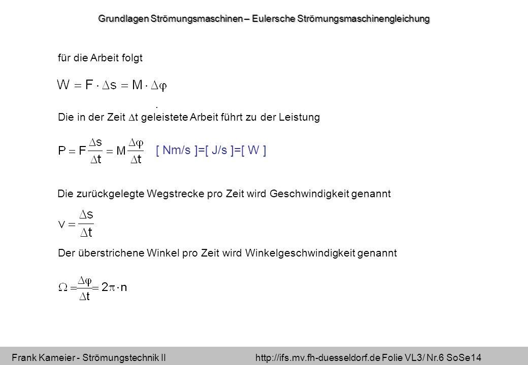 Frank Kameier - Strömungstechnik II http://ifs.mv.fh-duesseldorf.de Folie VL3/ Nr.6 SoSe14 für die Arbeit folgt.