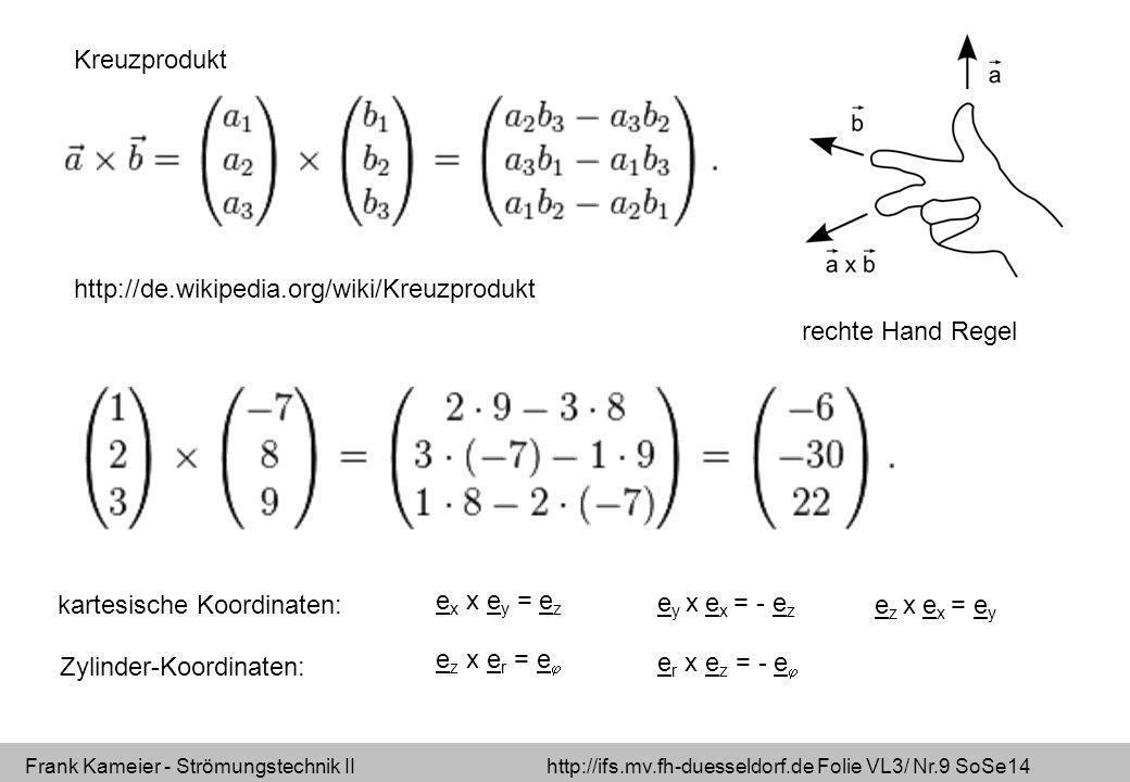 Frank Kameier - Strömungstechnik II http://ifs.mv.fh-duesseldorf.de Folie VL3/ Nr.9 SoSe14 http://de.wikipedia.org/wiki/Kreuzprodukt Kreuzprodukt rechte Hand Regel e x x e y = e z e y x e x = - e z e z x e x = e y e z x e r = e  e r x e z = - e  kartesische Koordinaten: Zylinder-Koordinaten: