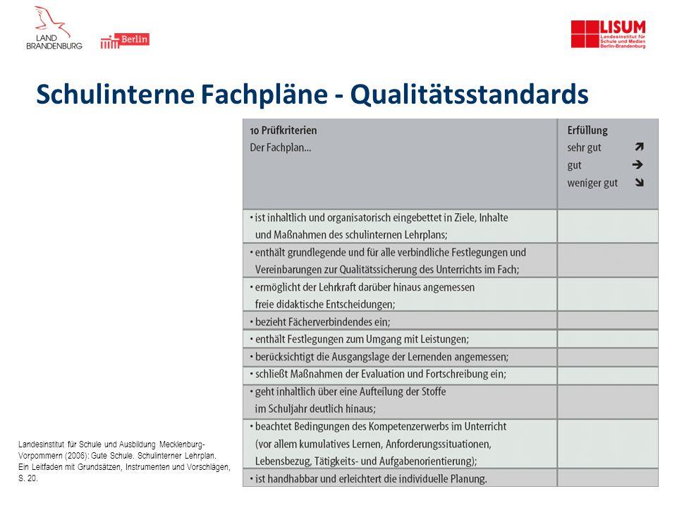 Schulinterne Fachpläne - Qualitätsstandards Landesinstitut für Schule und Ausbildung Mecklenburg- Vorpommern (2006): Gute Schule. Schulinterner Lehrpl