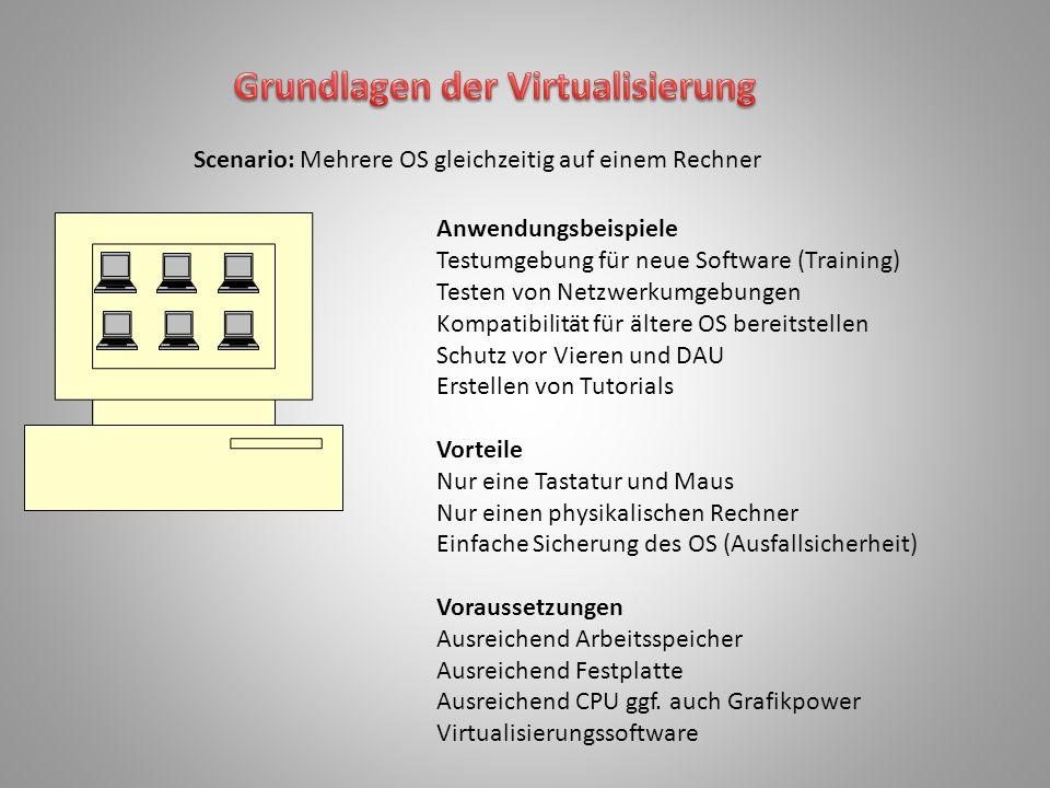 Anwendungsbeispiele Testumgebung für neue Software (Training) Testen von Netzwerkumgebungen Kompatibilität für ältere OS bereitstellen Schutz vor Vier