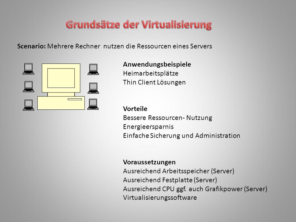 Scenario: Mehrere Rechner nutzen die Ressourcen eines Servers Anwendungsbeispiele Heimarbeitsplätze Thin Client Lösungen Vorteile Bessere Ressourcen-