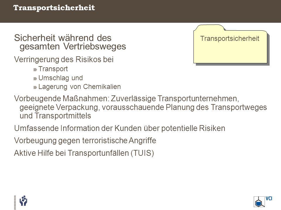 Transportsicherheit Sicherheit während des gesamten Vertriebsweges Verringerung des Risikos bei Transport Umschlag und Lagerung von Chemikalien Vorbeu