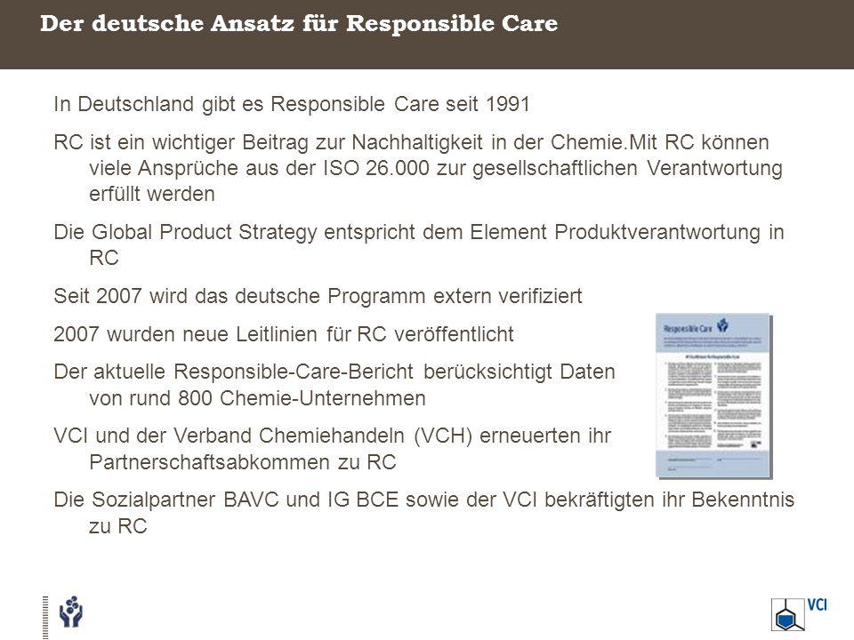 Der deutsche Ansatz für Responsible Care In Deutschland gibt es Responsible Care seit 1991 RC ist ein wichtiger Beitrag zur Nachhaltigkeit in der Chemie.Mit RC können viele Ansprüche aus der ISO 26.000 zur gesellschaftlichen Verantwortung erfüllt werden Die Global Product Strategy entspricht dem Element Produktverantwortung in RC Seit 2007 wird das deutsche Programm extern verifiziert 2007 wurden neue Leitlinien für RC veröffentlicht Der aktuelle Responsible-Care-Bericht berücksichtigt Daten von rund 800 Chemie-Unternehmen VCI und der Verband Chemiehandeln (VCH) erneuerten ihr Partnerschaftsabkommen zu RC Die Sozialpartner BAVC und IG BCE sowie der VCI bekräftigten ihr Bekenntnis zu RC