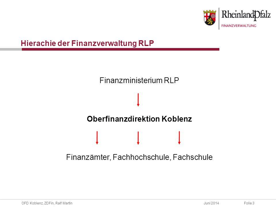 OFD Koblenz, ZDFin, Ralf MartinJuni 2014Folie 4 Oberfinanzdirektion Koblenz, Rheinland-Pfalz Daten / Fakten Mittelbehörde mit 26 nachgeordneten Finanzämtern Steueraufkommen 22.173.034.000 € (2013) Fast 7000 Bedienstete Personalreduzierung bis 2020 ca.