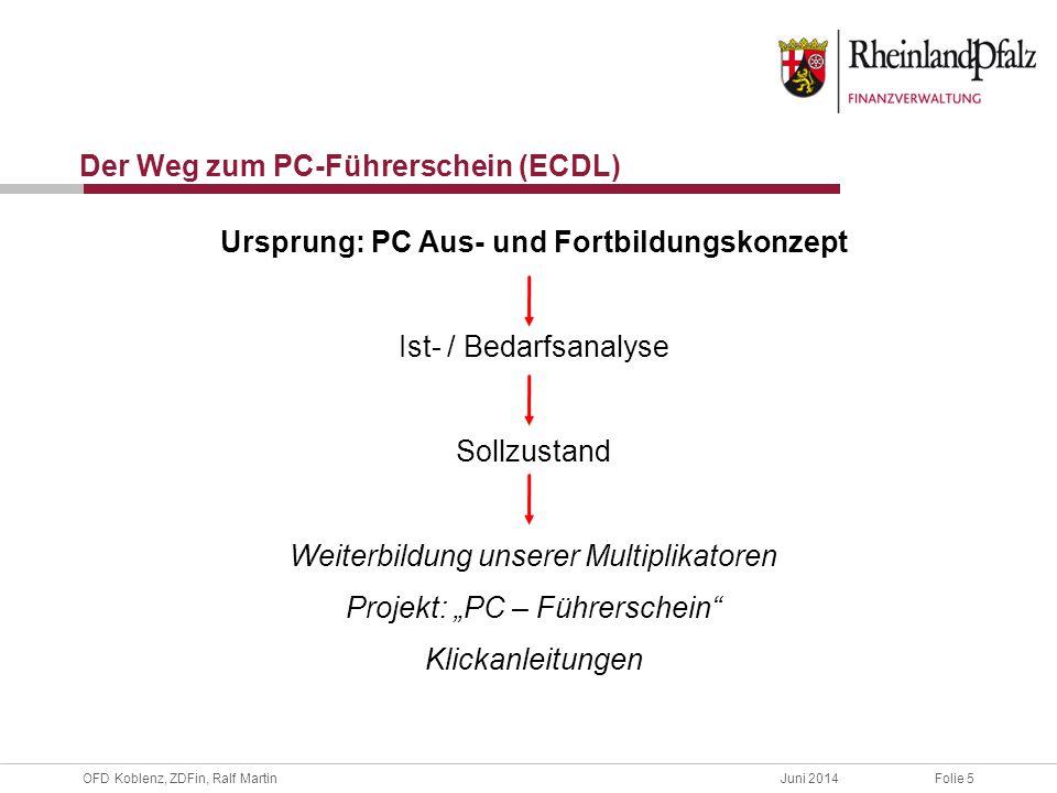 """OFD Koblenz, ZDFin, Ralf MartinJuni 2014Folie 6 Projekt """"Aus- und Fortbildungskonzept Projektstart 2012 Aus- u."""