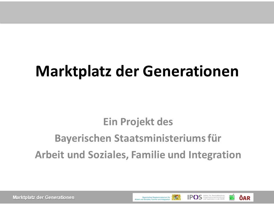 Marktplatz der Generationen  Ziel ist es, kleinere Kommunen (bis 3000 EW) zu unterstützen, die Probleme durch den demografischen Wandel zu bewältigen.