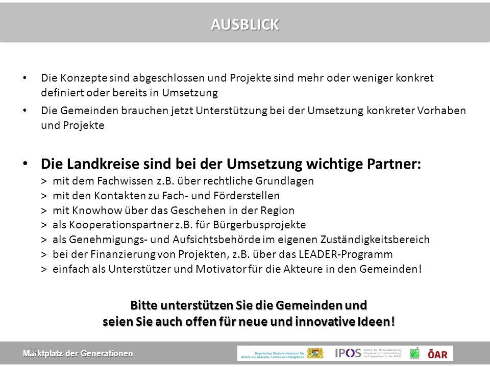 Marktplatz der Generationen AUSBLICK Die Konzepte sind abgeschlossen und Projekte sind mehr oder weniger konkret definiert oder bereits in Umsetzung D