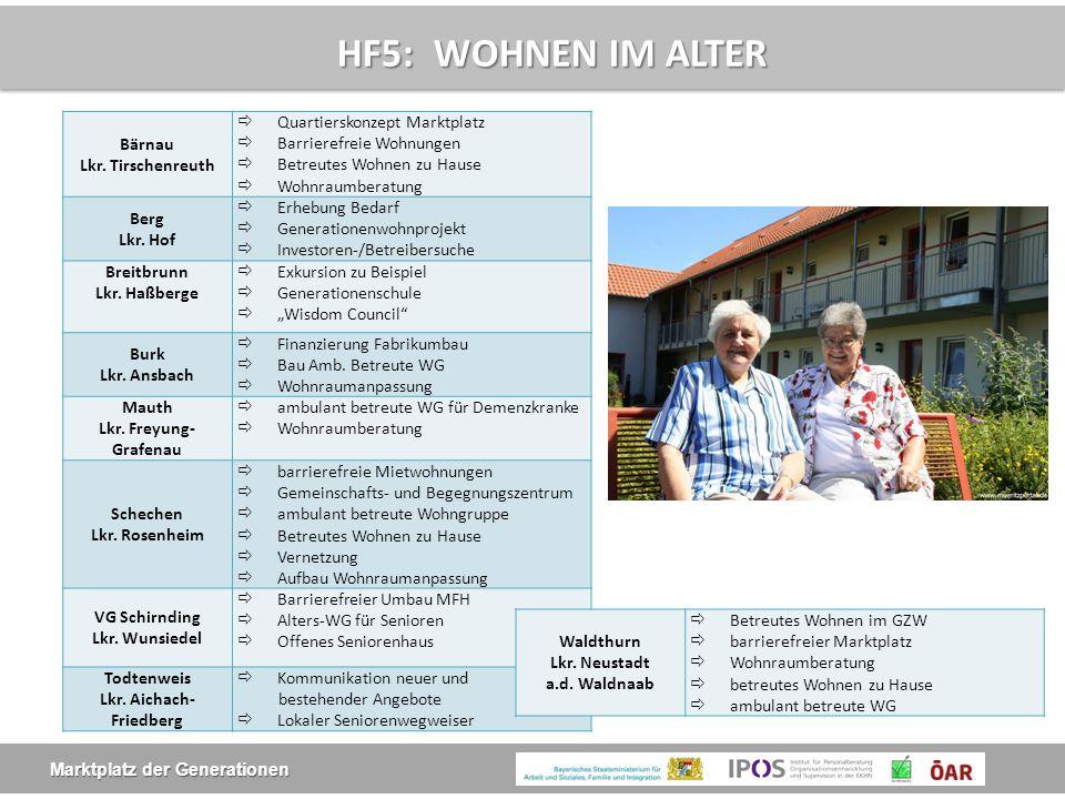 Marktplatz der Generationen HF5: WOHNEN IM ALTER Bärnau Lkr. Tirschenreuth  Quartierskonzept Marktplatz  Barrierefreie Wohnungen  Betreutes Wohnen