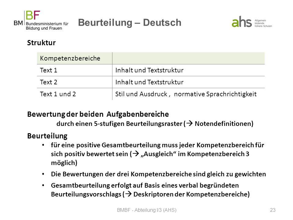 Beurteilung – Deutsch BMBF - Abteilung I/3 (AHS)23 Kompetenzbereiche Text 1Inhalt und Textstruktur Text 2Inhalt und Textstruktur Text 1 und 2Stil und