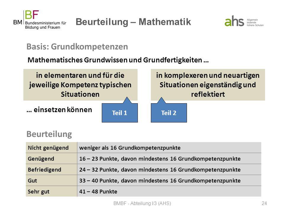 Beurteilung – Mathematik Basis: Grundkompetenzen BMBF - Abteilung I/3 (AHS)24 Mathematisches Grundwissen und Grundfertigkeiten … in elementaren und fü