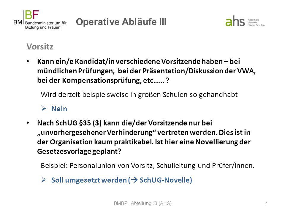 Operative Abläufe III Vorsitz Kann ein/e Kandidat/in verschiedene Vorsitzende haben – bei mündlichen Prüfungen, bei der Präsentation/Diskussion der VW
