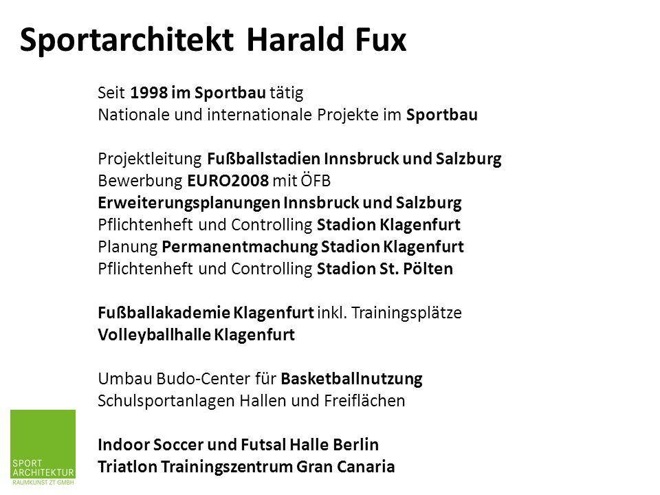 Seit 1998 im Sportbau tätig Nationale und internationale Projekte im Sportbau Projektleitung Fußballstadien Innsbruck und Salzburg Bewerbung EURO2008