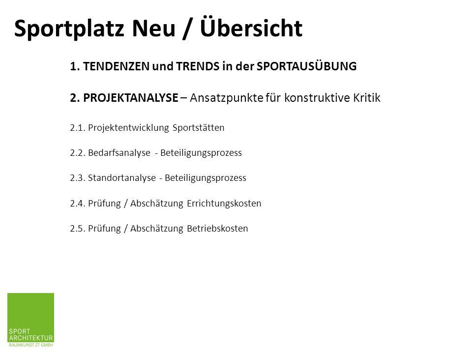 1. TENDENZEN und TRENDS in der SPORTAUSÜBUNG 2. PROJEKTANALYSE – Ansatzpunkte für konstruktive Kritik 2.1. Projektentwicklung Sportstätten 2.2. Bedarf