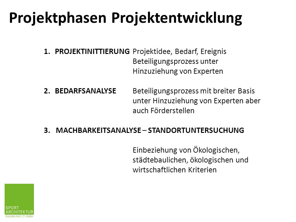 Projektphasen Projektentwicklung 1.PROJEKTINITTIERUNG Projektidee, Bedarf, Ereignis Beteiligungsprozess unter Hinzuziehung von Experten 2.BEDARFSANALY