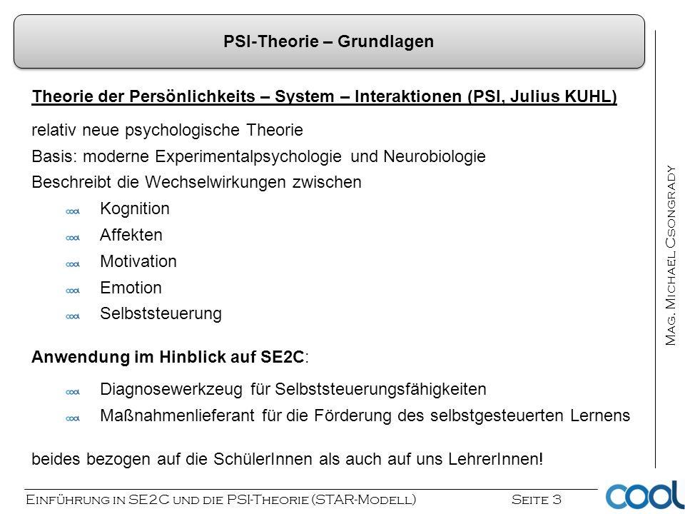 Einführung in SE2C und die PSI-Theorie (STAR-Modell) Seite 3 Mag. Michael Csongrady PSI-Theorie – Grundlagen Theorie der Persönlichkeits – System – In