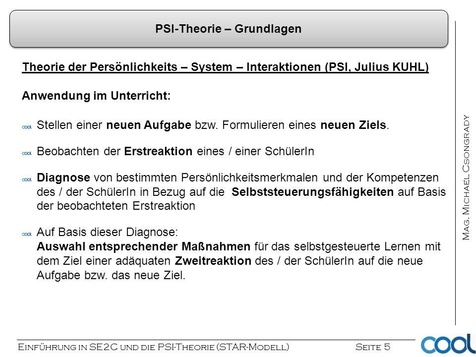 Einführung in SE2C und die PSI-Theorie (STAR-Modell) Seite 5 Mag. Michael Csongrady Theorie der Persönlichkeits – System – Interaktionen (PSI, Julius
