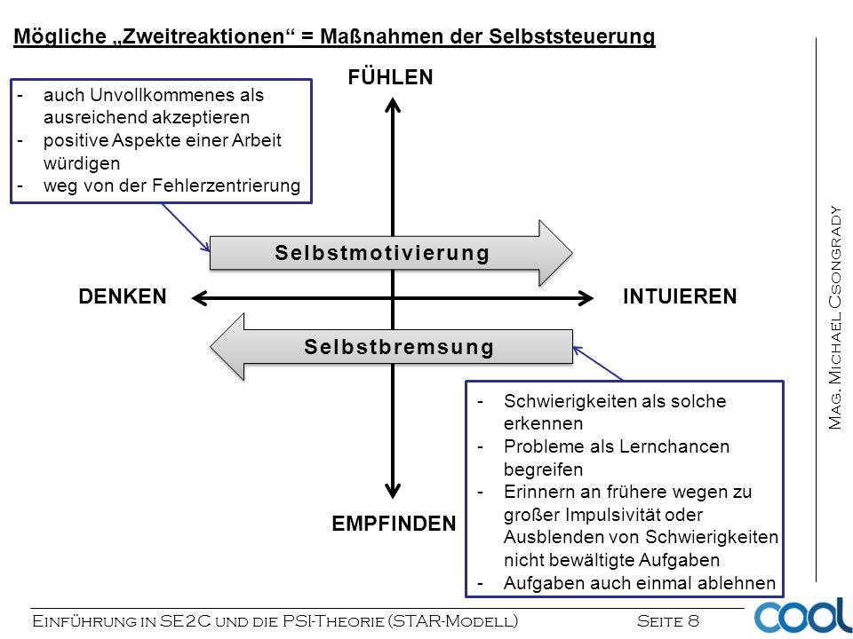 Einführung in SE2C und die PSI-Theorie (STAR-Modell) Seite 8 Mag. Michael Csongrady INTUIERENDENKEN FÜHLEN EMPFINDEN Selbstmotivierung Selbstbremsung
