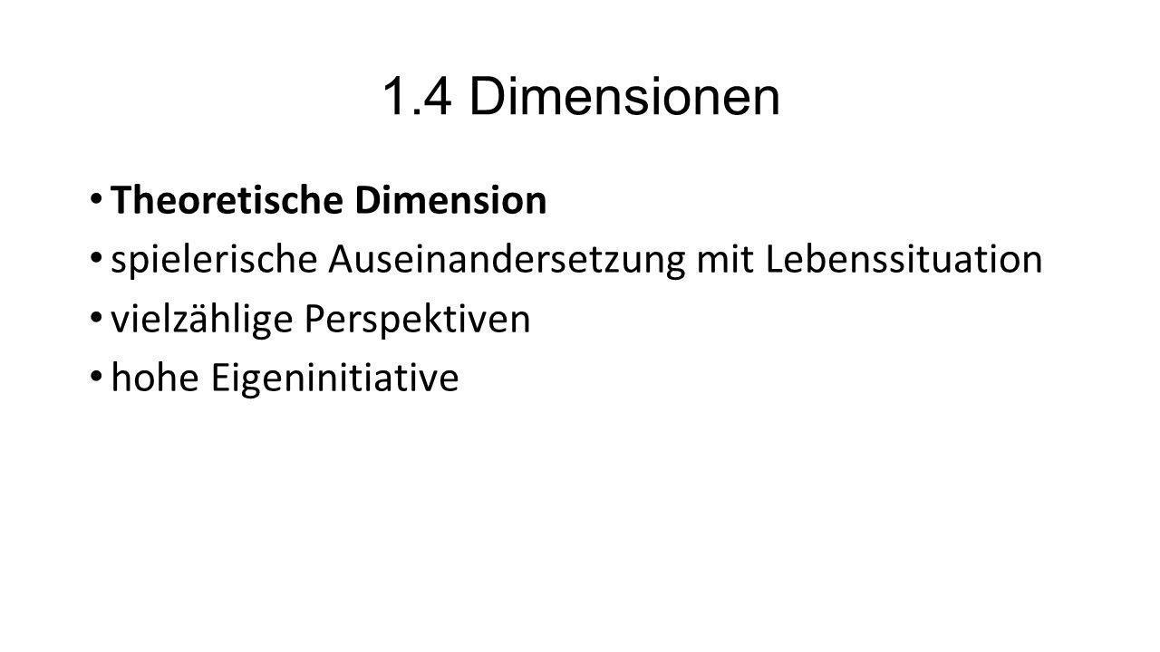 1.4 Dimensionen Theoretische Dimension spielerische Auseinandersetzung mit Lebenssituation vielzählige Perspektiven hohe Eigeninitiative