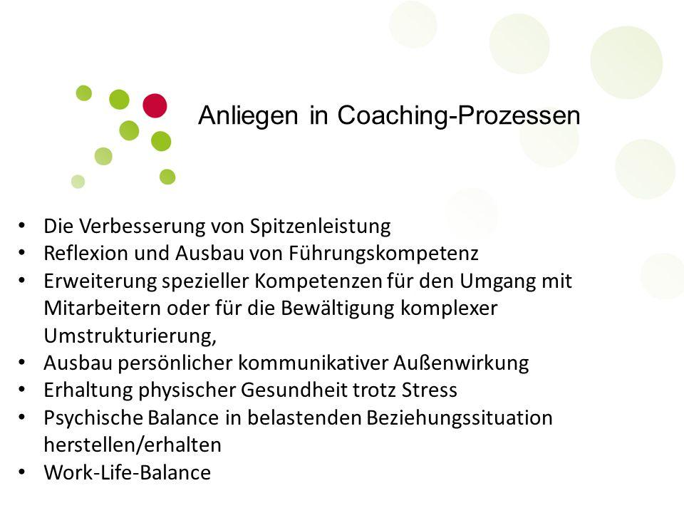 Anliegen in Coaching-Prozessen Die Verbesserung von Spitzenleistung Reflexion und Ausbau von Führungskompetenz Erweiterung spezieller Kompetenzen für