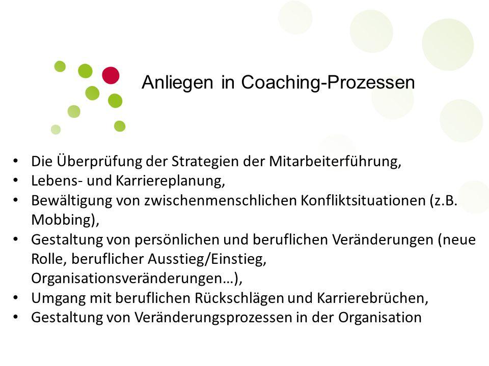 Anliegen in Coaching-Prozessen Die Überprüfung der Strategien der Mitarbeiterführung, Lebens- und Karriereplanung, Bewältigung von zwischenmenschlichen Konfliktsituationen (z.B.