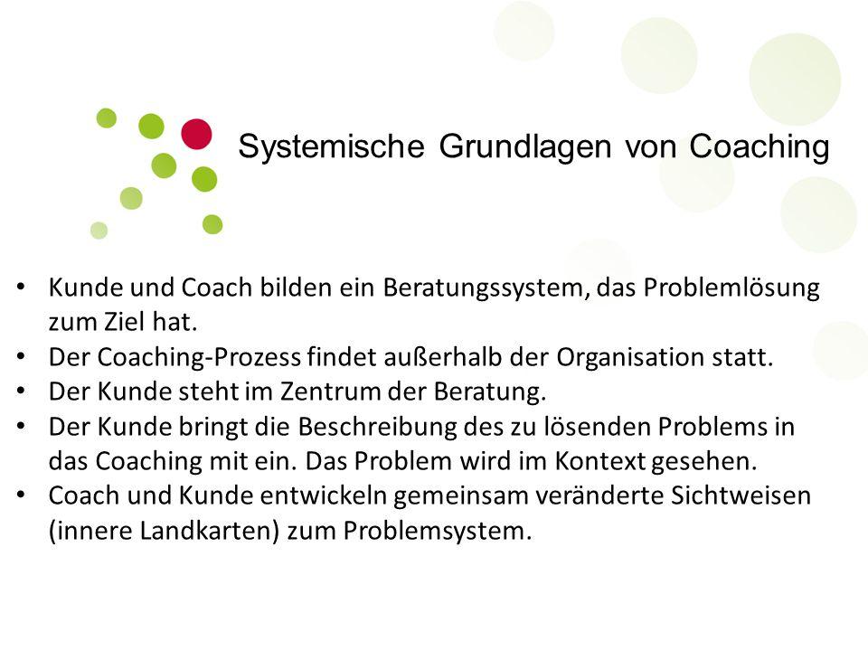 Systemische Grundlagen von Coaching Kunde und Coach bilden ein Beratungssystem, das Problemlösung zum Ziel hat. Der Coaching-Prozess findet außerhalb