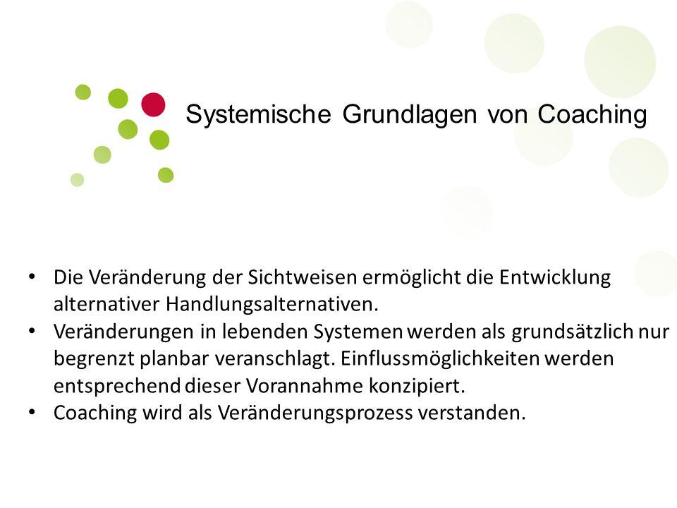 Systemische Grundlagen von Coaching Die Veränderung der Sichtweisen ermöglicht die Entwicklung alternativer Handlungsalternativen. Veränderungen in le