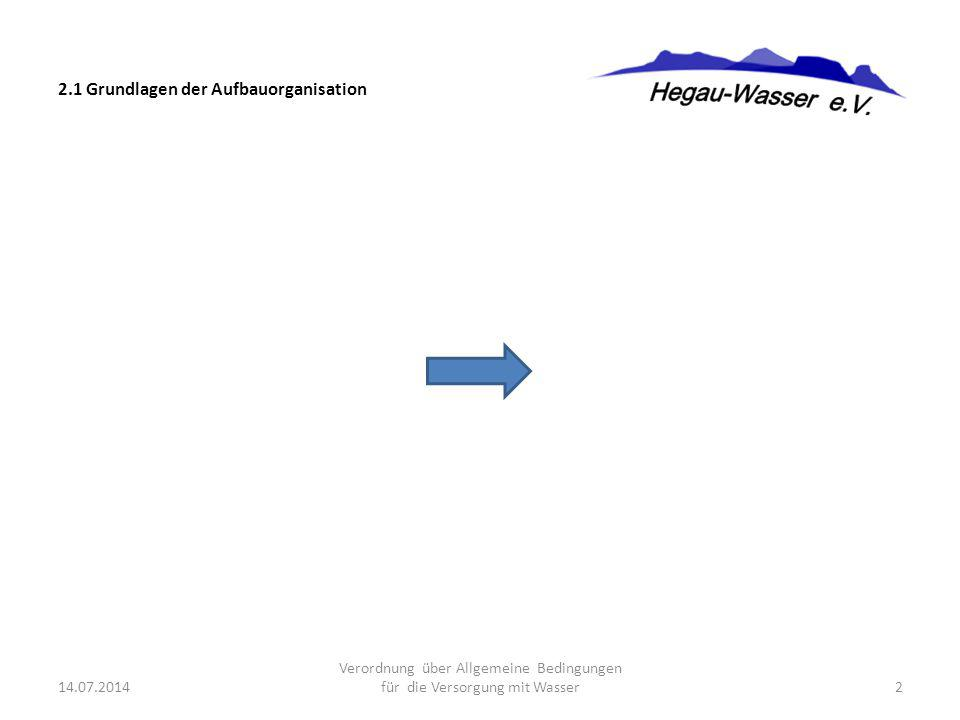 2.1 Grundlagen der Aufbauorganisation 14.07.2014 Verordnung über Allgemeine Bedingungen für die Versorgung mit Wasser2