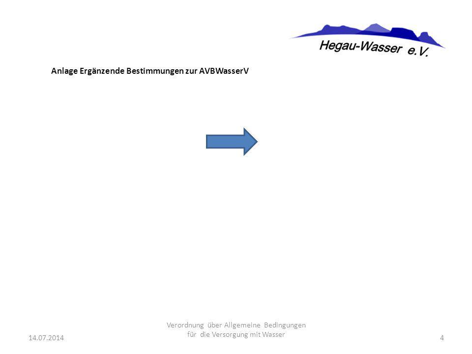 Anlage Ergänzende Bestimmungen zur AVBWasserV 14.07.20144 Verordnung über Allgemeine Bedingungen für die Versorgung mit Wasser