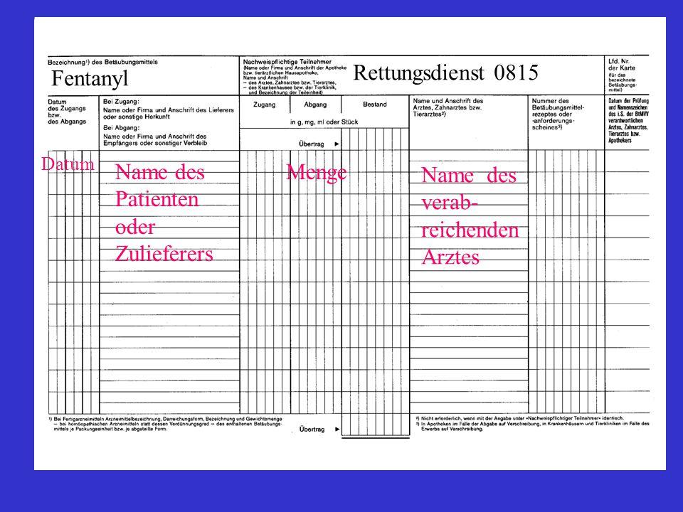 Datum Name des Patienten oder Zulieferers Menge Fentanyl Rettungsdienst 0815 Name des verab- reichenden Arztes