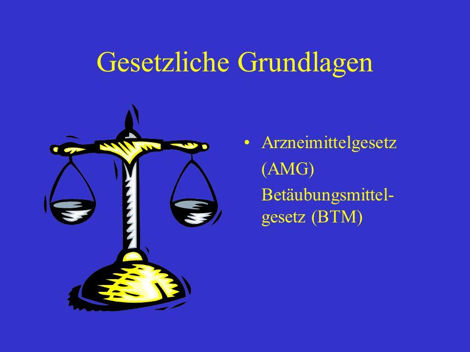 Gesetzliche Grundlagen Arzneimittelgesetz (AMG) Betäubungsmittel- gesetz (BTM)