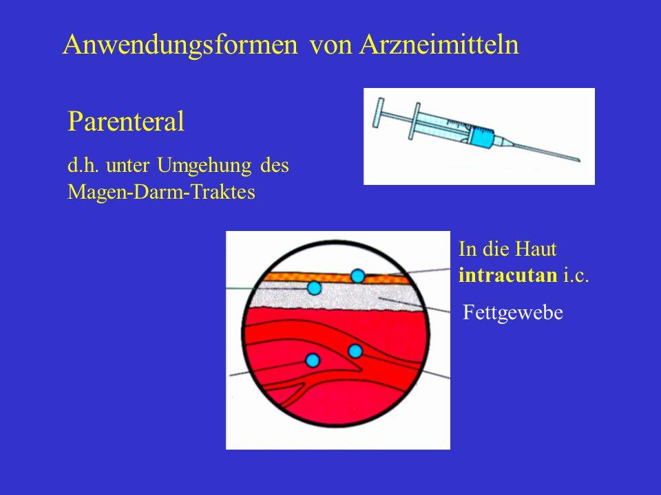 Anwendungsformen von Arzneimitteln Parenteral d.h. unter Umgehung des Magen-Darm-Traktes In die Haut intracutan i.c. Fettgewebe