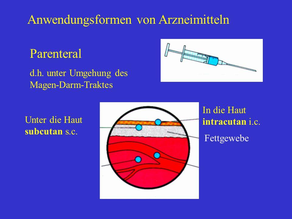 Anwendungsformen von Arzneimitteln Parenteral d.h. unter Umgehung des Magen-Darm-Traktes In die Haut intracutan i.c. Fettgewebe Unter die Haut subcuta