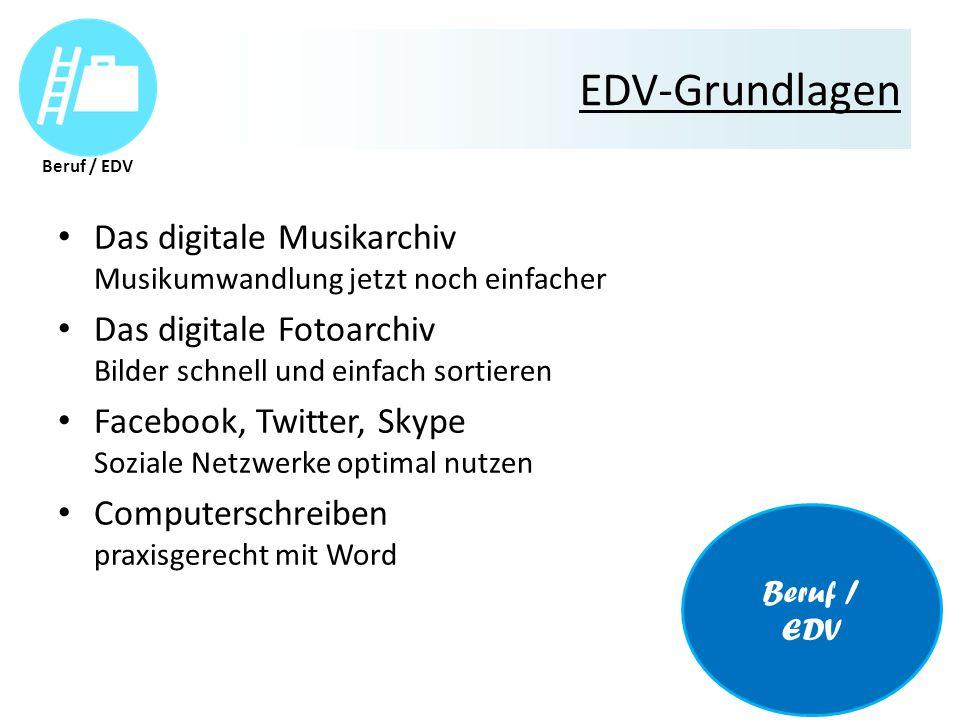 EDV-Grundlagen Das digitale Musikarchiv Musikumwandlung jetzt noch einfacher Das digitale Fotoarchiv Bilder schnell und einfach sortieren Facebook, Twitter, Skype Soziale Netzwerke optimal nutzen Computerschreiben praxisgerecht mit Word Beruf / EDV