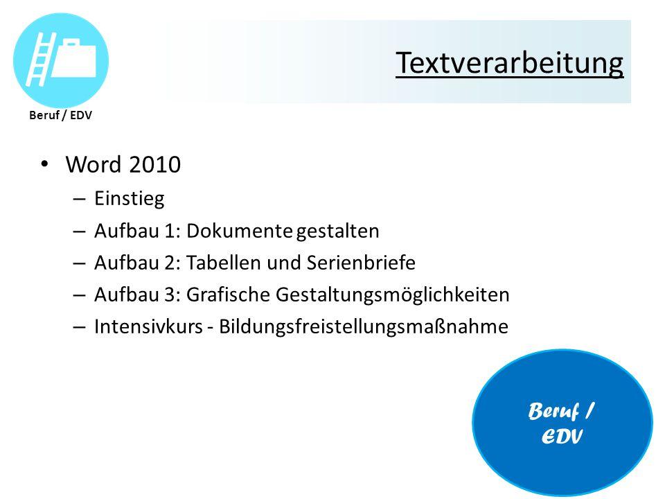 Textverarbeitung Word 2010 – Einstieg – Aufbau 1: Dokumente gestalten – Aufbau 2: Tabellen und Serienbriefe – Aufbau 3: Grafische Gestaltungsmöglichkeiten – Intensivkurs - Bildungsfreistellungsmaßnahme Beruf / EDV