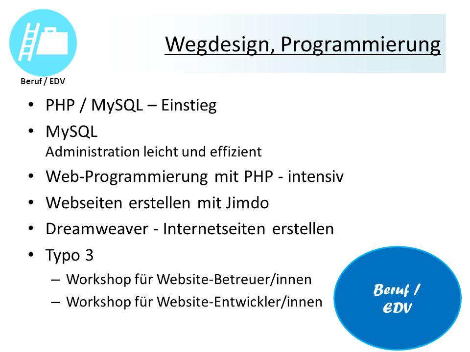 Wegdesign, Programmierung PHP / MySQL – Einstieg MySQL Administration leicht und effizient Web-Programmierung mit PHP - intensiv Webseiten erstellen mit Jimdo Dreamweaver - Internetseiten erstellen Typo 3 – Workshop für Website-Betreuer/innen – Workshop für Website-Entwickler/innen Beruf / EDV