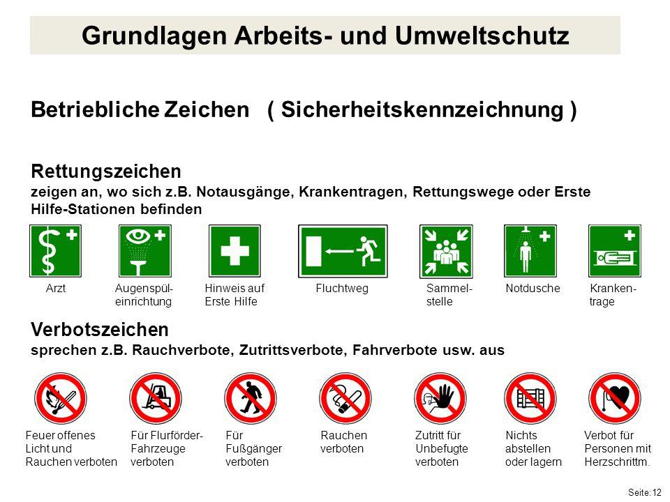 Seite:12 Betriebliche Zeichen ( Sicherheitskennzeichnung ) Rettungszeichen zeigen an, wo sich z.B. Notausgänge, Krankentragen, Rettungswege oder Erste