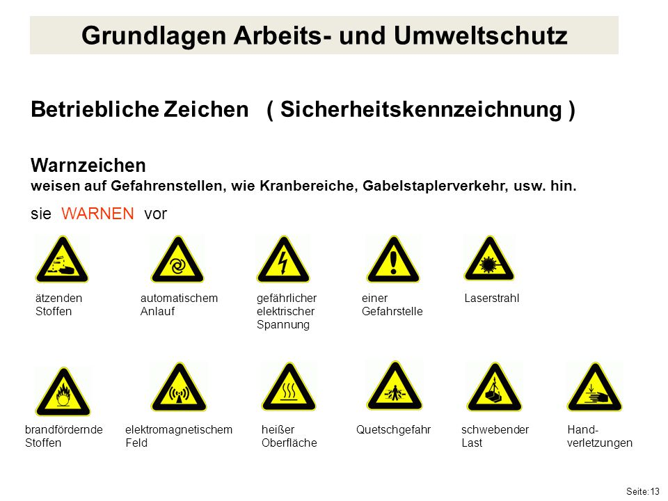 Seite:13 Betriebliche Zeichen ( Sicherheitskennzeichnung ) Warnzeichen weisen auf Gefahrenstellen, wie Kranbereiche, Gabelstaplerverkehr, usw. hin. si