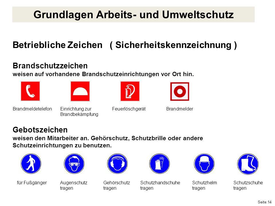 Seite:14 Betriebliche Zeichen ( Sicherheitskennzeichnung ) Brandschutzzeichen weisen auf vorhandene Brandschutzeinrichtungen vor Ort hin. Gebotszeiche