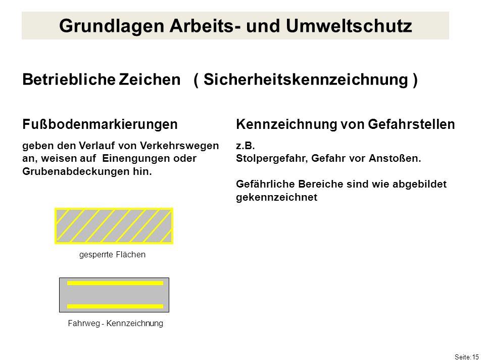 Seite:15 Betriebliche Zeichen ( Sicherheitskennzeichnung ) Fußbodenmarkierungen geben den Verlauf von Verkehrswegen an, weisen auf Einengungen oder Gr