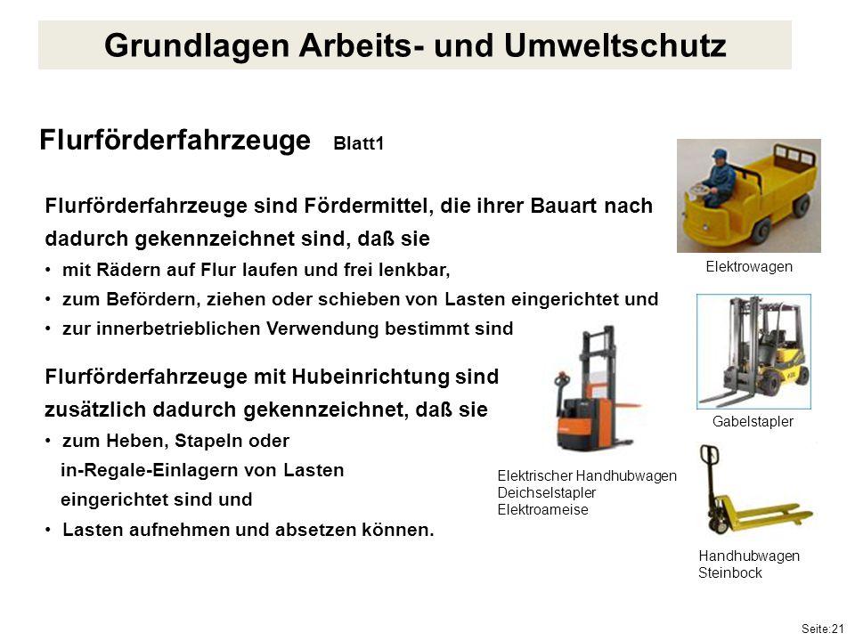 Seite:21 Flurförderfahrzeuge Blatt1 Flurförderfahrzeuge sind Fördermittel, die ihrer Bauart nach dadurch gekennzeichnet sind, daß sie mit Rädern auf F