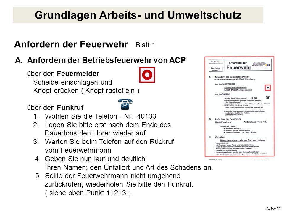 Seite:26 Anfordern der Feuerwehr Blatt 1 A. Anfordern der Betriebsfeuerwehr von ACP über den Feuermelder Scheibe einschlagen und Knopf drücken ( Knopf