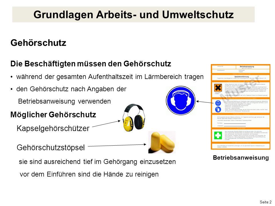 Seite:2 Gehörschutz Die Beschäftigten müssen den Gehörschutz während der gesamten Aufenthaltszeit im Lärmbereich tragen den Gehörschutz nach Angaben d