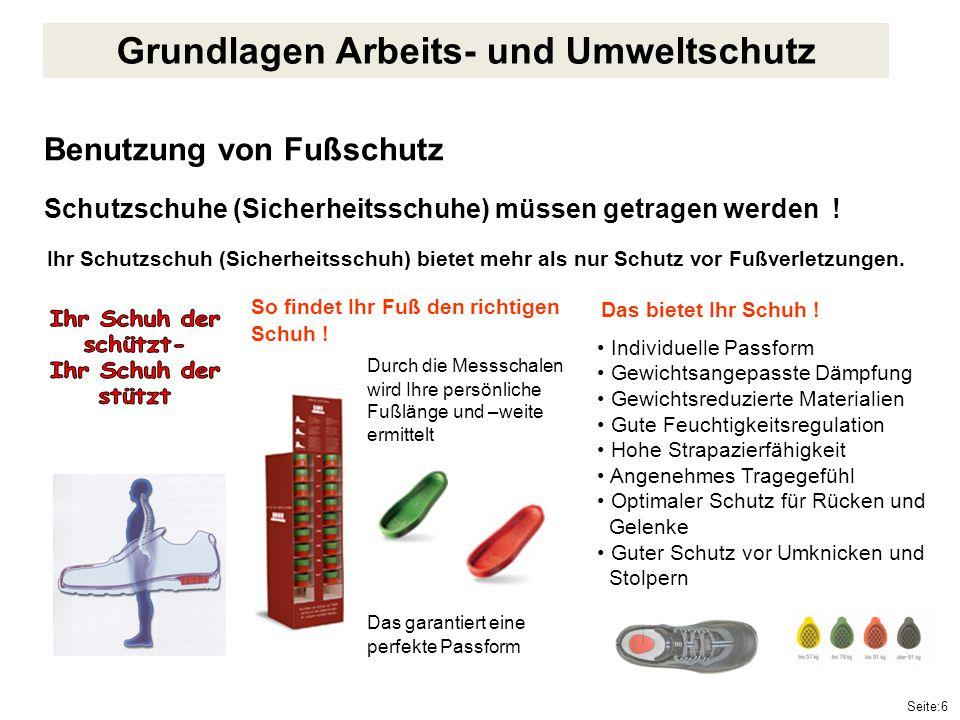 Seite:6 Benutzung von Fußschutz Schutzschuhe (Sicherheitsschuhe) müssen getragen werden ! Individuelle Passform Gewichtsangepasste Dämpfung Gewichtsre