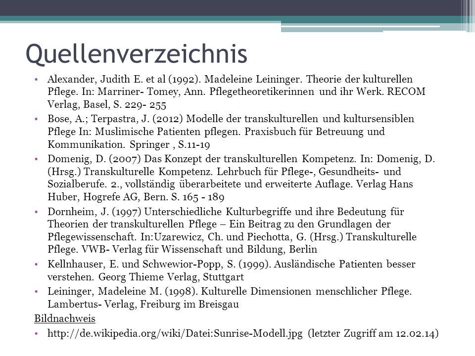Quellenverzeichnis Alexander, Judith E. et al (1992). Madeleine Leininger. Theorie der kulturellen Pflege. In: Marriner- Tomey, Ann. Pflegetheoretiker