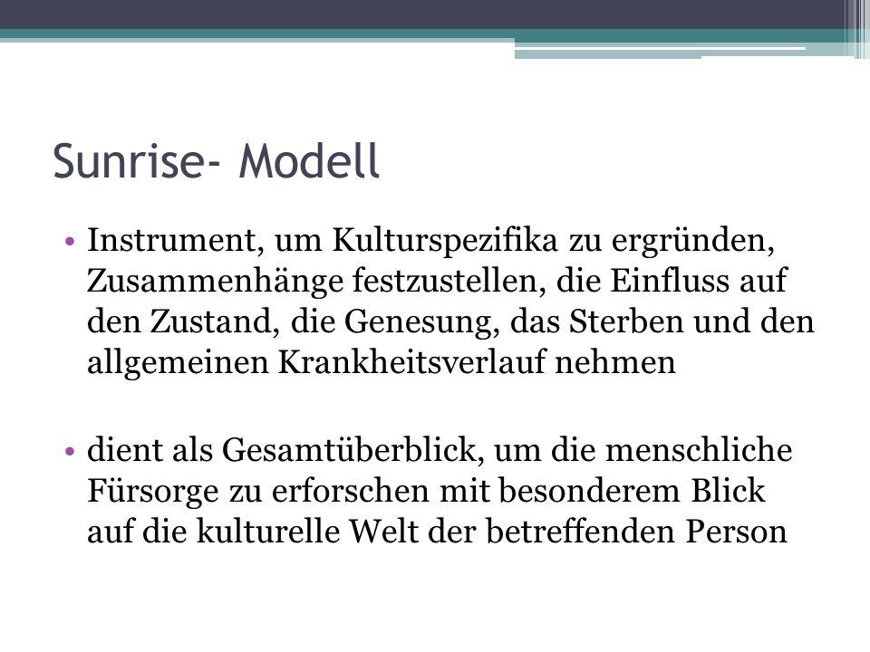 Sunrise- Modell Instrument, um Kulturspezifika zu ergründen, Zusammenhänge festzustellen, die Einfluss auf den Zustand, die Genesung, das Sterben und