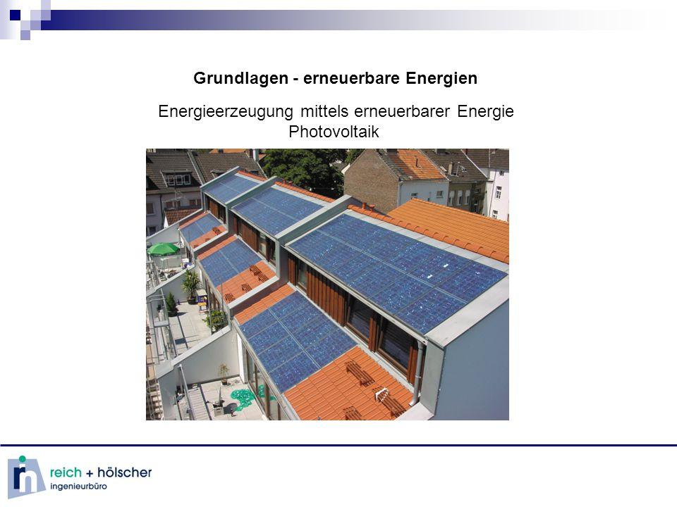 Grundlagen - erneuerbare Energien Energieerzeugung mittels erneuerbarer Energie Photovoltaik