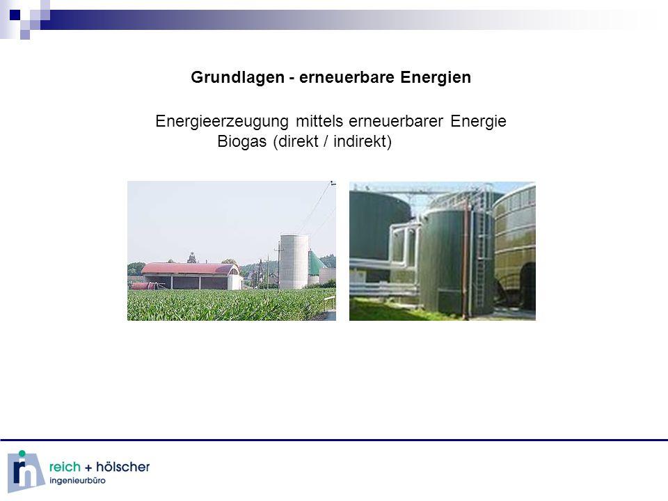 Grundlagen - erneuerbare Energien Energieerzeugung mittels erneuerbarer Energie Biogas (direkt / indirekt)